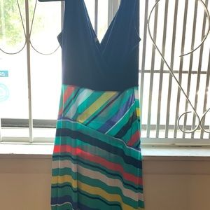 Navy and multi colored striped dress